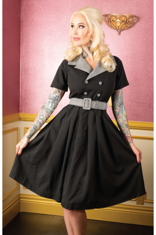 Michelle Vintage Style Black and Grey Collared Dress with Belt - Curvique Vintage