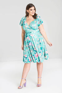 Midori Oriental Floral Print Mint Coloured Summer Dress - Curvique Vintage