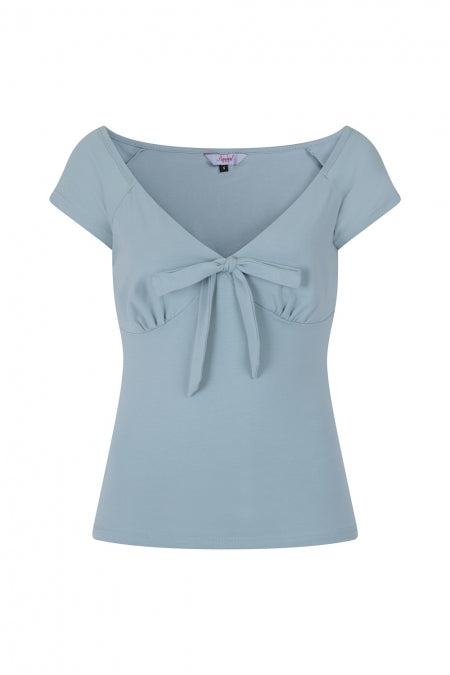 Mint Vintage Inspired Deep Neckline Top with Bow Detail - Curvique Vintage
