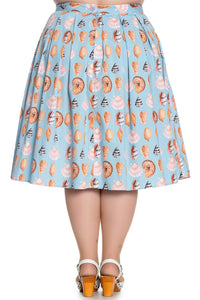 Light Blue Shell 50s Inspired Cotton Skirt - Curvique Vintage