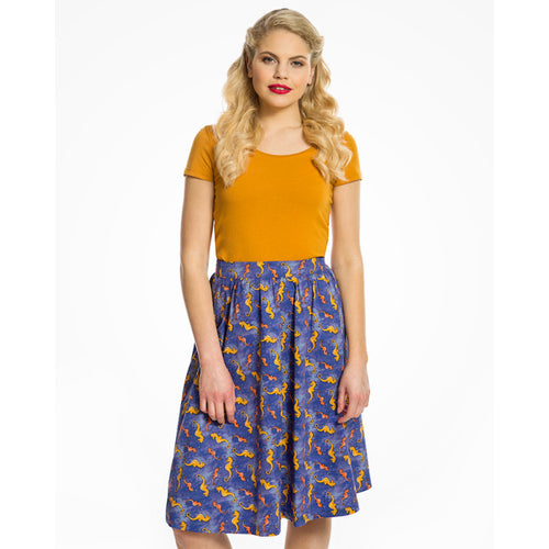 Mid-Century Inspired Seahorse Print Cotton Swing Skirt
