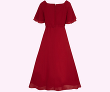 Meredith 50's V-Neck Chiffon Swing Dress in Red - Curvique Vintage