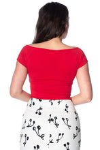Red Vintage Inspired Deep Neckline Top with Bow Detail Plus Size - Curvique Vintage
