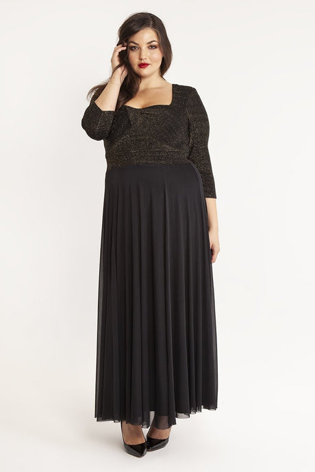 Black Lurex  Vintage Inspired Sweetheart Maxi Party Gown - Curvique Vintage