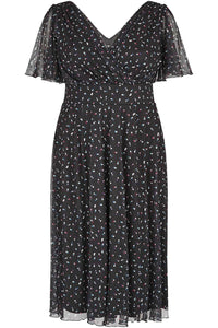 Lottie Black Sheer lined Heart Print Angel Sleeve Midi Dress - Curvique Vintage