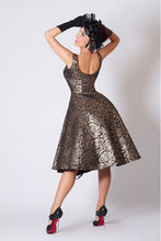 Silver Metallic Rose Embroidered Print Dress
