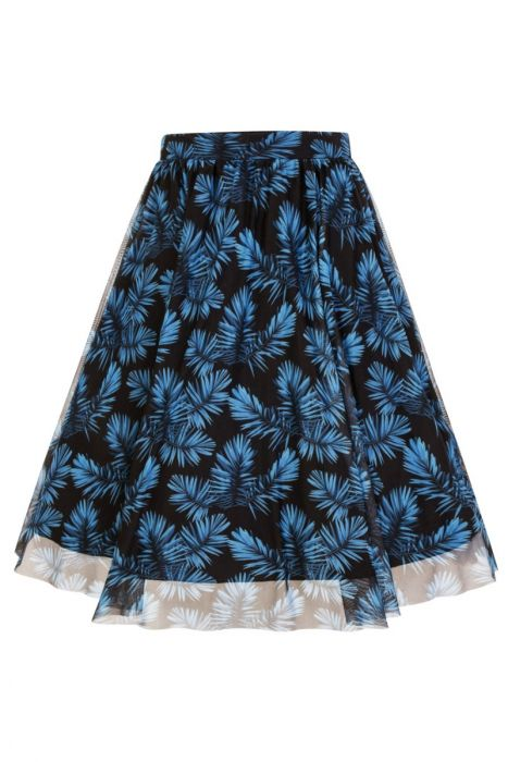 Tulle Black/Blue Leaf Mesh Lined Skirt - Curvique Vintage
