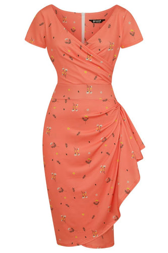 Amaranth Elsie Orange Blossom Wrap Style Dress - Curvique Vintage