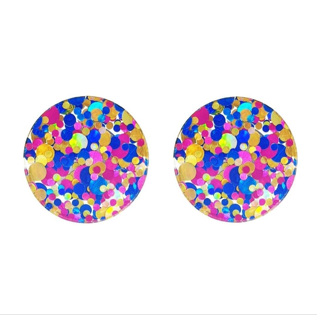 Spotty Glitter Multicoloured Studs - Curvique Vintage