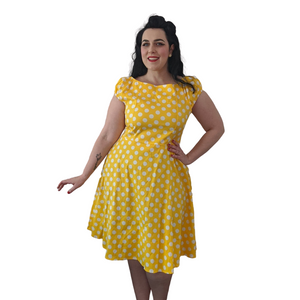 Yellow/White Polka Dot 50s Swing Dress - Curvique Vintage