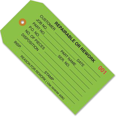 Repairable or Rework Inspection Tags