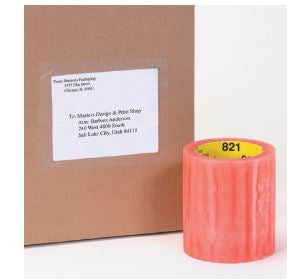 "3 M 821 6"" x 72 yd Label Protection Tape 2.5 mil (Low glare) Sold 8 Rolls per case-Lamar Packaging Supplies Inc"
