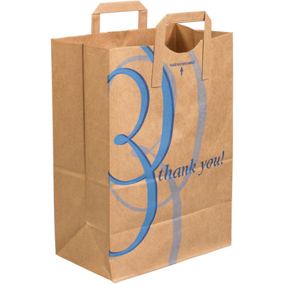 "12 x 7 x 17"" - ""Thank You"" Flat Handle Grocery Bags-Grocery Bags-Lamar Packaging Supplies Inc"