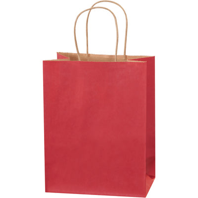 "8 x 4 1/2 x 10 1/4"" Scarlet Tinted Shopping Bags-Shopping Bags-Lamar Packaging Supplies Inc"