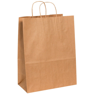 "13 x 7 x 17"" Kraft Paper Shopping Bags-Shopping Bags-Lamar Packaging Supplies Inc"