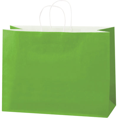 "16 x 6 x 12"" Citrus Green Tinted Shopping Bags-Shopping Bags-Lamar Packaging Supplies Inc"