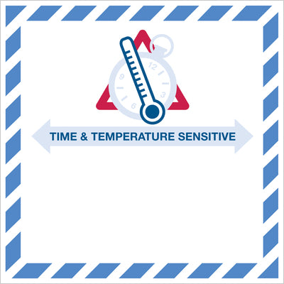 "4-1/4"" x 4-1/4"" - ""Time And Temperature Sensitive"" Label - 500/roll-Lamar Packaging Supplies Inc"