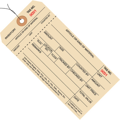 Inventory Tags 1 Part Stub Style #8 - PRE-WIRED-Lamar Packaging Supplies Inc