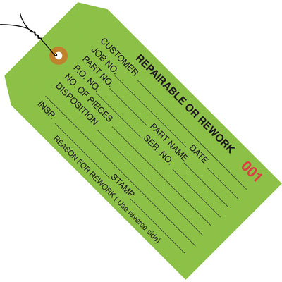 "4 3/4 x 2 3/8"" - ""Repairable or Rework"" Inspection Tags - Pre-Wired-Lamar Packaging Supplies Inc"
