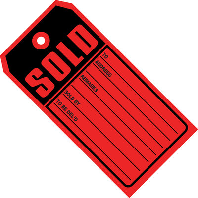 "4 3/4 x 2 3/8"" - ""Sold Tags"" 10 Point Card Stock-Lamar Packaging Supplies Inc"