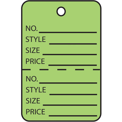 "1 1/4 x 1 7/8"" Green Perforated Garment Tags-Lamar Packaging Supplies Inc"