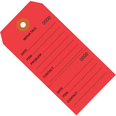 "4 3/4 x 2 3/8"" Red Repair Tags Consecutively Numbered-Lamar Packaging Supplies Inc"