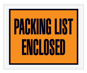 """Packing List Enclosed"" (FULL Face) Envelopes (3 colors available) - 1,000 per case, unless noted-Lamar Packaging Supplies Inc"