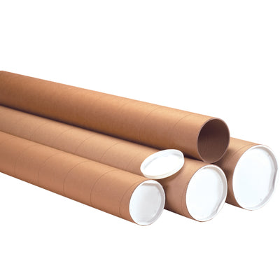 "4"" Kraft Heavy-Duty Tubes with Caps-Lamar Packaging Supplies Inc"