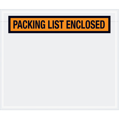 "6-1/2"" x 5"" Orange ""Packing List Enclosed"" (PANEL Face) Envelopes - 1,000 per case-Lamar Packaging Supplies Inc"