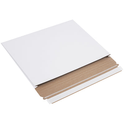 "12 1/2 x 9 1/2 x 1"" White Gusseted Flat Mailers-Lamar Packaging Supplies Inc"