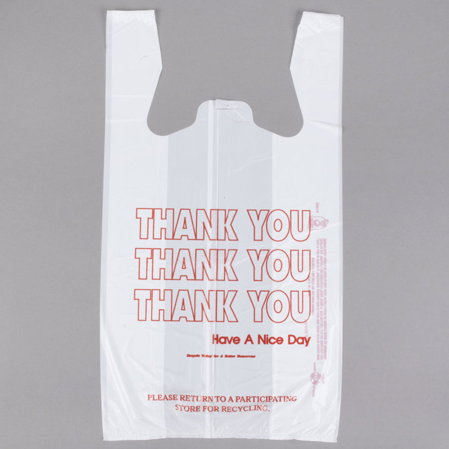 "1/6 White - ""Thank You"" T- Sack 11.5"" x 6.5"" x 21"" GUSSETED Plastic Bag-Grocery Bags-Lamar Packaging Supplies Inc"