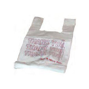 "1/6 White - ""Thank You"" Econo T- Sack 11.5"" x 21"" FLAT Plastic Bag-Grocery Bags-Lamar Packaging Supplies Inc"