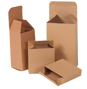 "KRAFT 2-1/2"" x 2-1/2"" x 4"" -thru- 2-5/8""x 2"" x 2-5/8"" Reverse Tuck Folding Carton-Lamar Packaging Supplies Inc"