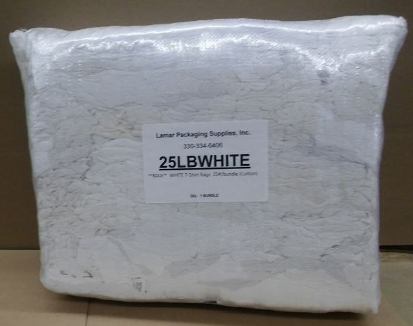 25 lb White T-Shirt Rags-25lb white rag-Lamar Packaging Supplies Inc