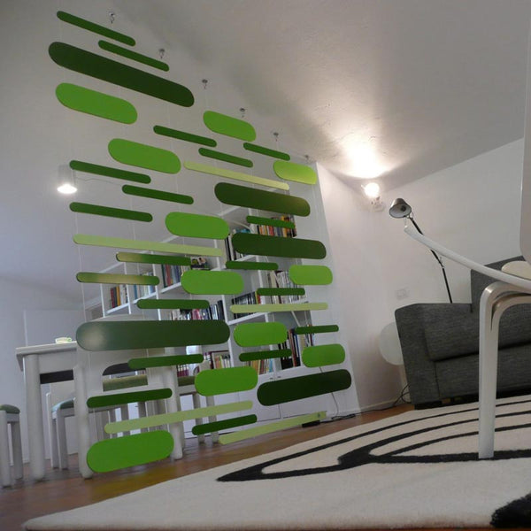 minimaproject dashes 3d suspended art as a room divider - shades of green | ikonitaly