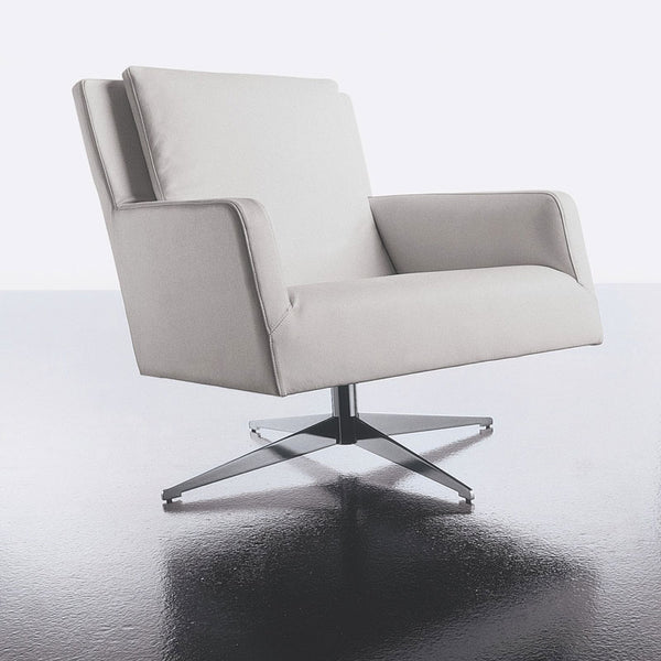 altek swing lounge chair | with arms - in white leather | ikonitaly