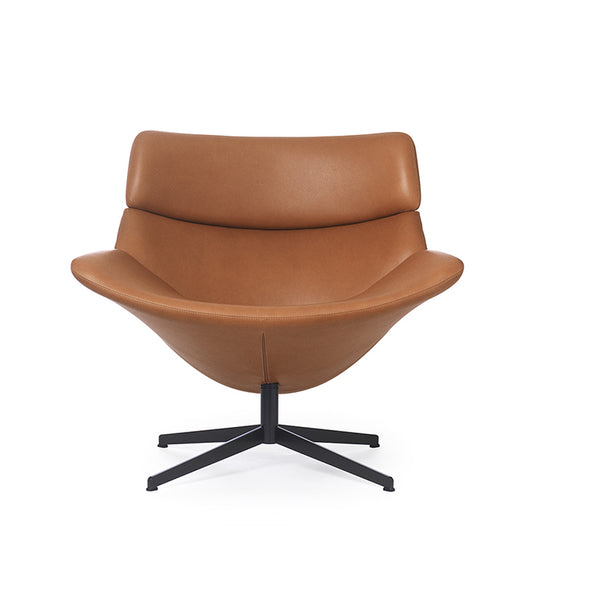 erik jorgensen asko relaxing iconic lounge chair - brown leather front view | ikonitaly