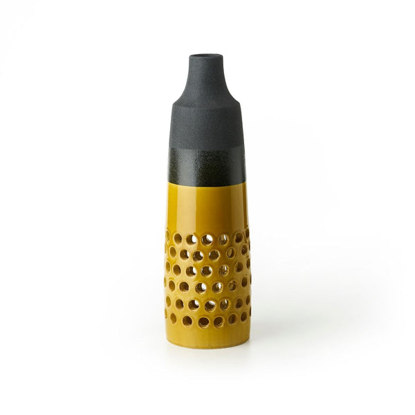 bitossi INV-5487 mustard-yellow and lava-black glaze ceramic vase - lava series | ikonitaly