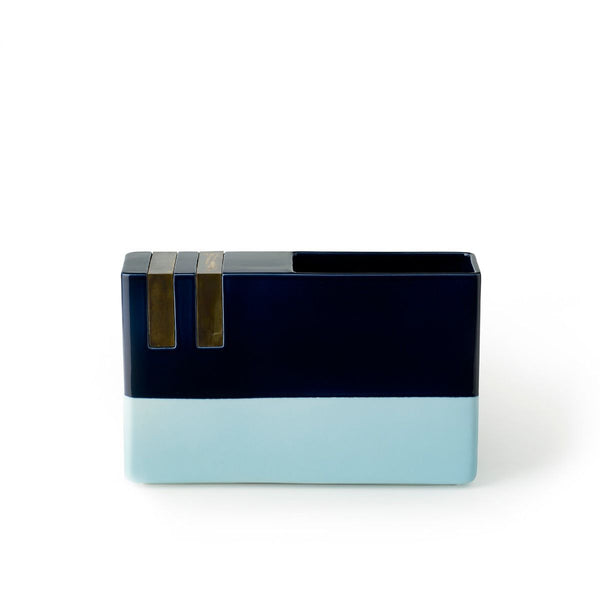 bitossi DIM-3 two-tone black and light blue vase | ikonitaly