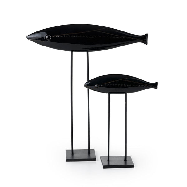 bitossi ZZ2JY-311 sculpture pair of black fish | ikonitaly