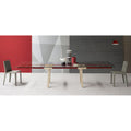 bonaldo tracks extendable table - red parallel beams, glass top | shop online ikonitaly