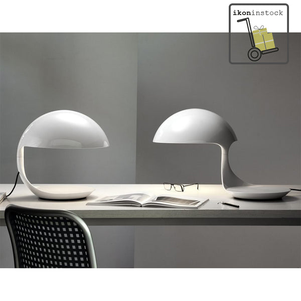 ikoninstock | martinelli cobra two white table lamps on desk | ikonitaly
