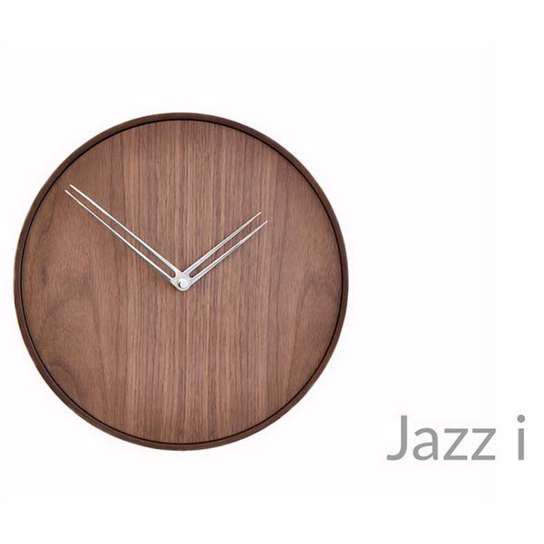 nomon jazz i modern wall clock in solid wood - hands in chromed steel  | ikonitaly