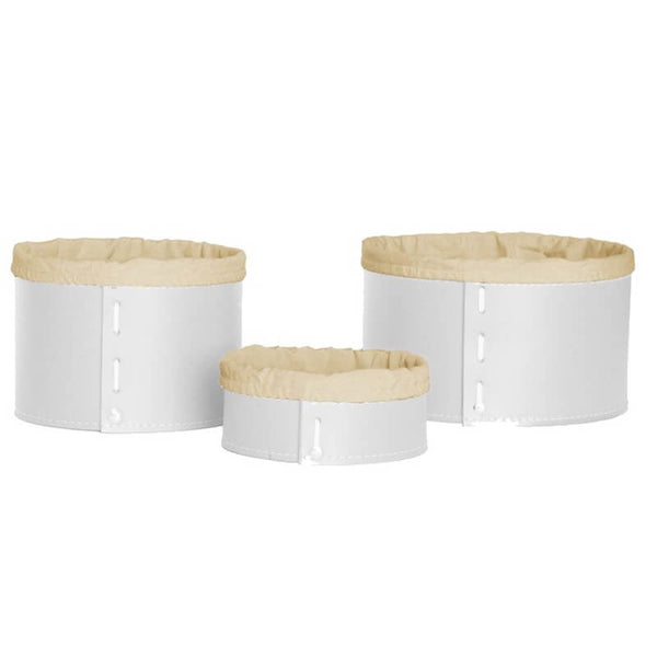 limac design fanny | leather container with internal bag- set 3 pieces white | ikonitaly