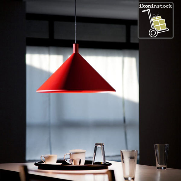 ikoninstock | martinelli cono suspension lamp - red | shop online ikonitaly