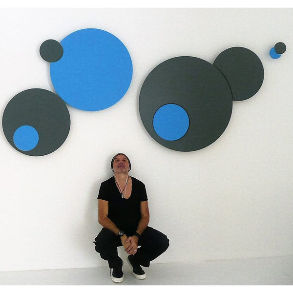 minimaproject bubble burst 3d wall art - black and blue with artist luke orsetti | ikonitaly