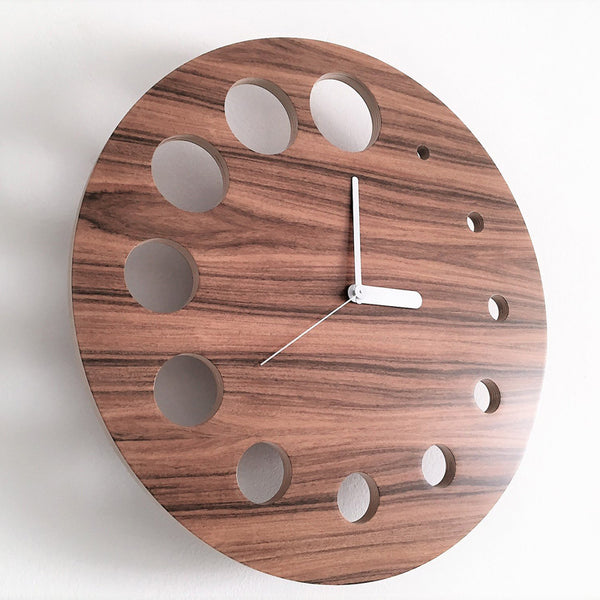 minimaproject flying saucer palissandro wall clock, wood with white solid arms | ikonitaly