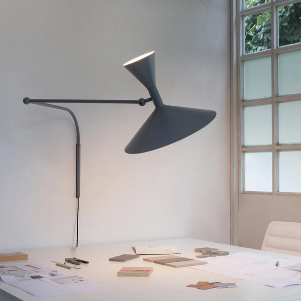 nemo lampe de marseille le corbusier wall lamp grey over table