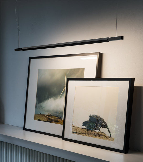 nemo linescapes pendant horizontal suspension lamp black over paintings - designer nemo design studio | shop online ikonitaly