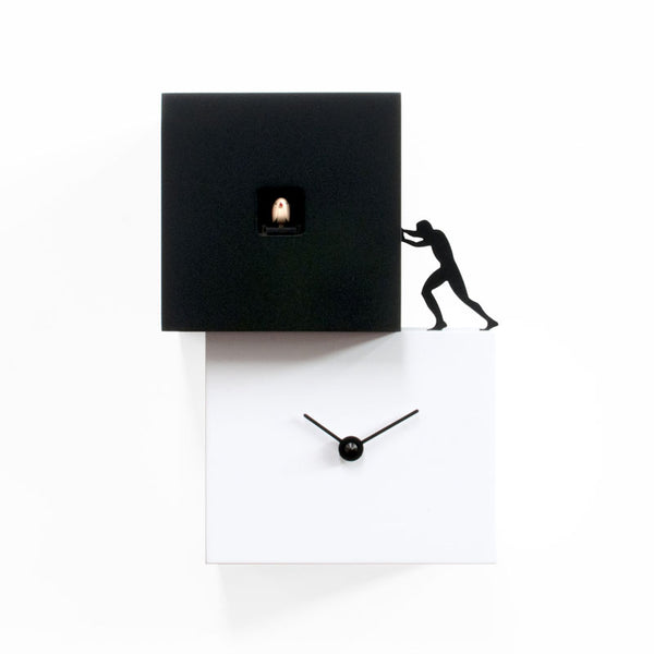 progetti strong cucu' 1 wall cuckoo clock, white and black | ikonitaly